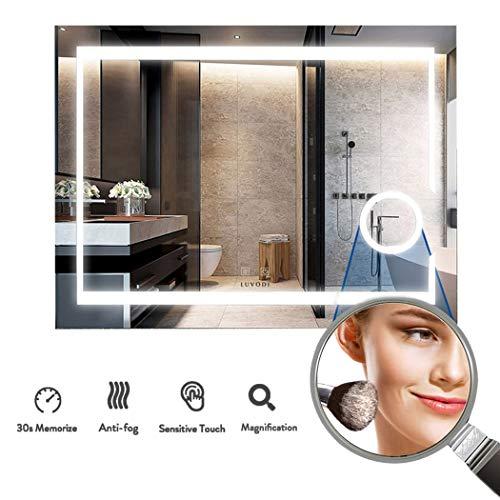 LUVODI Espejo de Baño Pared con Iluminación LED Espejo de Baño Moderno con Interruptor...