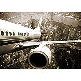 Fototapete Stadt - ALLE STADTMOTIVE auf einen Blick ! Vlies PREMIUM PLUS - 300x210 cm - SKYLINE FLIGHT - Skyline Flugzeug Urlaub braun sephia - no. 048