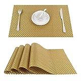 Top Finel umweltfreundlich Platzmatten-Set Tischsets Platzdeckchen Tischmatte dekorativ Unterlage 30 x 45 cm 4er Set Gold