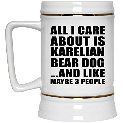 Karelian Bear Dog - Beer Stein Bierkrug Keramik Bierhumpen Bar Becher Kneipenkrug - Geschenk zum Geburtstag Jahrestag Muttertag Vatertag Ostern ()