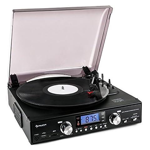 auna TT 881 Plattenspieler Retro Stereoanlage (SD-USB-Anschluss zur Digitalisierung, UKW/MW-Radiotuner, Riemenantrieb, Lautsprecher)