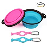 Miaosun Large Collapsible Food Grade Silicone Dog Bowl, FDA Approved Foldable Expandable Cup Dish for Pet Dog/Cat Food Water Feeding Portable Travel Bowl with Free Pothook (Pack of 2)