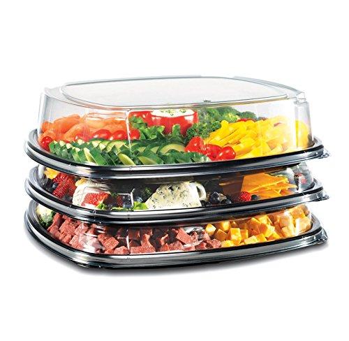 """40,64 cm (16"""") Nero & Dome-Vassoio quadrato per alimenti con coperchio, confezione da 5 pezzi"""