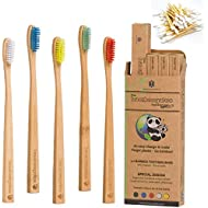 BAMBOOGALOO Organic Bamboo Toothbrushes   5 Pack with FREE Bamboo Cotton Buds   Premium UK Design   Natural Wooden Toothbrush   Unique Bristle Shape, Medium Firm   Biodegradable Eco Friendly Gifts Box