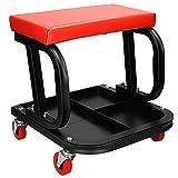 ECD Germany Werkstatthocker Werkstattsitz Rollwagen mit Werkzeugablage max. 150 kg Mechanikerhocker Rollen Stuhl