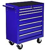 TecTake Chariot d'atelier servante à outils | sept tiroirs spacieux verrouillables | bleu