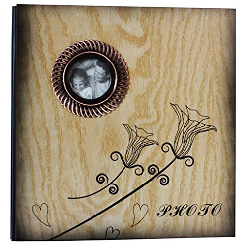 FOOHAO- Albums photo avec des pages collantes, couverture de grain de bois, 20 pages (40 faces), bricolage Creative Family Lovers Photo Album (Couleur : Black card)
