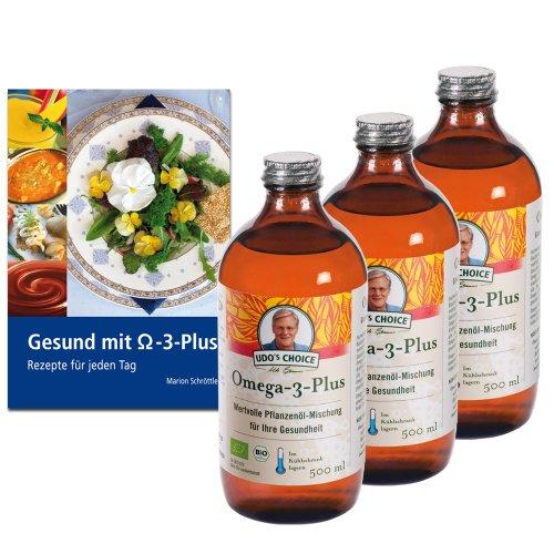 3 x Omega-3-Plus Öl, Bio, 500 ml + Rezeptbuch: Gesund mit Omega-3-Plus (Omega-3-plus)