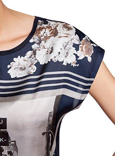 oodji Ultra Donna T-Shirt Stampata Mix Materiali Nero (2979P)