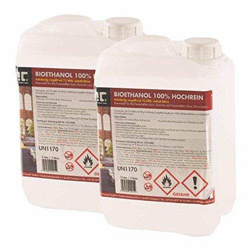30 L Bio Ethanol Premium 100% (10 x 3 L) für Kamin - versandkostenfrei - in zehn praktischen 3 L Kanistern