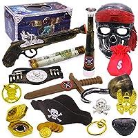 Fashionikon Pirate Theme Costume Accessories Set Halloween Fancy Dress Pirate Mask Kids Toy (Telescope, Eyepatch, Sword, Mask, Vest, Treasure Coins, Hook, Guns, Compass)