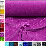 MAGAM-Stoffe ''Stella'' Nicki-Stoff Uni | 18 Farben | kuschlig weich und sehr hochwertig | Meterware ab 50cm (08. Lila)
