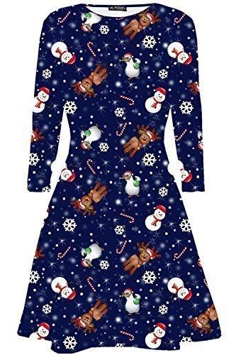Oops Outlet Damen Langärmlig Olaf Santa Geschenke Glocken Schneemann Weihnachten Bedruckt Aufgeweitet Swing Oberteil Übergröße EU 36-50 - Rentier Schneemann Pinguin Marineblau, (Frauen Weihnachten Kleid)
