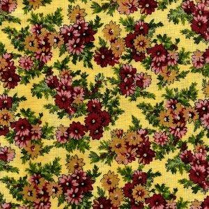 Patchworkstoff mit roten und beigen Blumen auf gelbem Grund. 25x112cm, Meterware