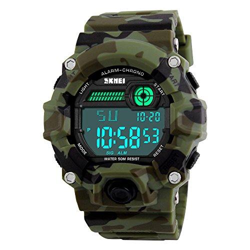 Herren Sportuhren militärischen Uhr Armbanduhr Digital LED Kalender Chronograph resistente