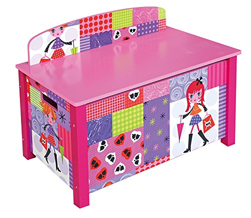 Liberty House Toys Fashion Girl Toy Box, Wood, Pink, 67x37x49.5 Cm
