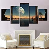 zfkdsd (Nessuna Cornice) Tela Pittura Arte della Parete per Soggiorno HD Prints 5 Pezzi Fantasy Pianeti Immagini TV Play Poster Decorazioni per La Casa Modulare-40x60cmx2,40x80cmx2,40x100cmx1