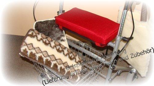 Rollatorsitzkissen, Sitzkissen für Rollator, Rollatorkissen mit Bezug 100% Baumwolle, 20x40 cm Farbe schwarz