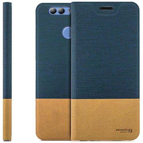zanasta Tasche kompatibel mit Huawei Nova 2 Plus mit Kartenfach Hülle Flip Case Slim Schutzhülle Handytasche, Standfunktion | Blau