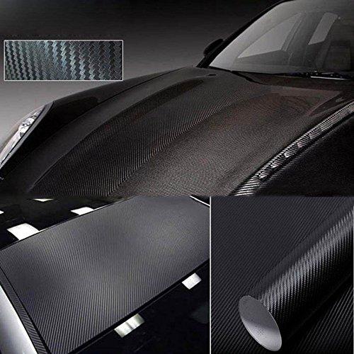 VANKER Etiqueta engomada de 30 * 127cm Negro Tela-tejido de fibra de carbono del coche Protector de la película del