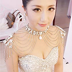 ELECTROPRIME Crystal Tassel Wedding Bridal Jewelry Necklace Shoulder Chain + Earrings Set