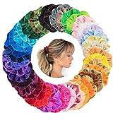 Haargummis Scrunchies Samt Bunte 45 Farben Haar Gummibänder Samt Scrunchies Haarbänder Elastische für Damen oder Mädchen Haarschmuck