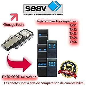 SEAV TXS1, TXS2, TXS3, TXS4, TXS6 compatible émetteur de remplacement de la télécommande,433,92Mhz fixed code