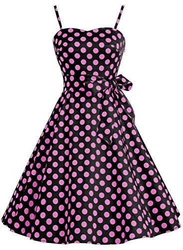 Bbonlinedress Vintage 50s 60s Retro Rockabilly Cocktailkleid mit abnehmbarem Schultergurt Black Pink Big Dot