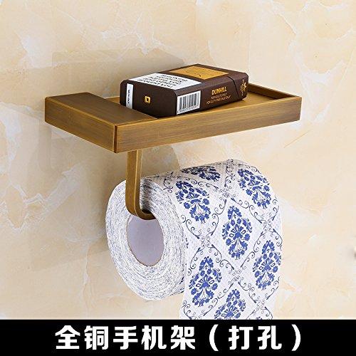 Hand-held-wc-papier-halter (MangeooAlle Kupfer antik wasserdicht Rollenpapier rack WC-Papier, Handy Halter für Toilettenpapier (Stanzen Geld))