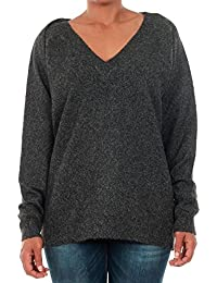 Vero Moda pullover Women Long Sleeve Dark grey 10179488 VMBRILLIANT LS V-NECK BLOUSE BOO BLACK BEAUTY/MELANGE