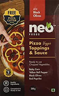 Neo Foods Pizza Topping and Sauce with Black/Red Olives, 250 Grams - Pack of 24