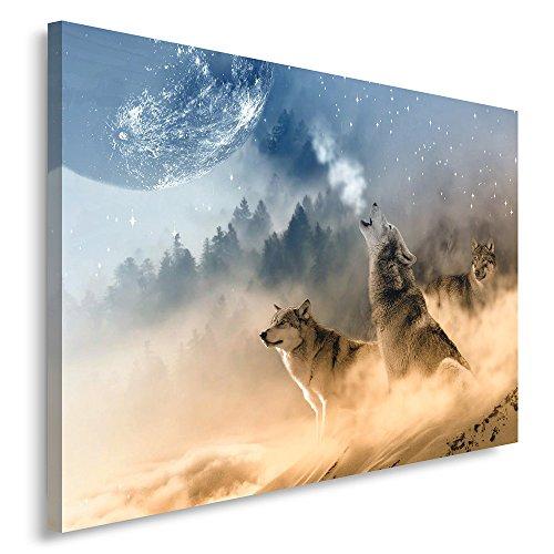 (Feeby. Wandbild - 1 Teilig - 80x120 cm, Leinwand Bild Leinwandbilder Bilder Wandbilder Kunstdruck, WÖLFE, NATUR, BRAUN)
