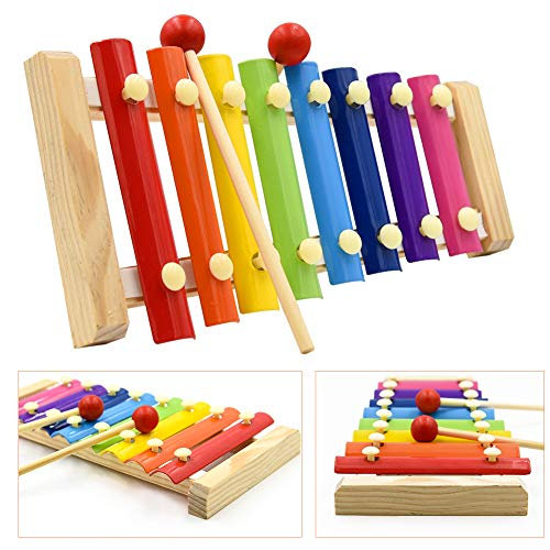 Xylophone for Kids Colorful 8 Tones Hand Knock Xylophone with 2 Wooden Mallets Musical Toy with Child Safe Mallets Holiday/Birthday DIY Gift Idea for your Mini Musicians