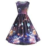Keepwin Retro Mididress, Frauen Vintage Galaxy Sternenhimmel Planet Raum Gedruckt Bodycon Sonnenkleid (L, Multicolor)
