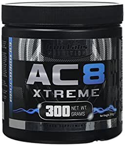 Iron Labs Nutrition, AC8 Xtreme (Blue Raspberry) - 300 grams - Pre-Workout Supplement With Caffeine, Beta-Alanine, Glutamine and Creatine - 20-40 Pre Workout Servings