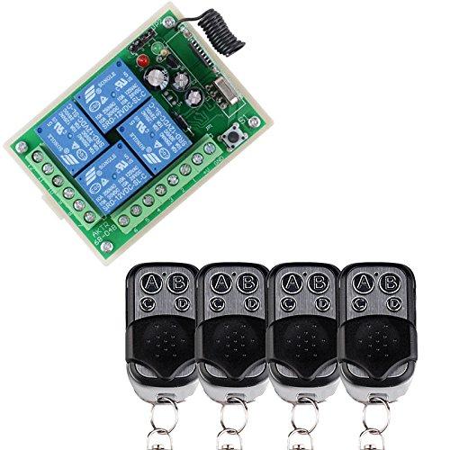 DC12V 4-Kanal-RF-Fernbedienung Smart Home Switch 4 Fernbedienungssender und 1 Empfänger Universal Gate Controller Drahtlose Handsender aus Metall