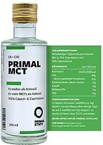 PRIMAL MCT Öl in Glasflasche   Extrakt aus Kokosöl   Geschmacksneutral   Caprylsäure (C-8) und Caprinsäure (C-10)   Bulletproof Coffee, Low Carb, Ketogen, Paleo und vegan   MCT Oil - 100ml