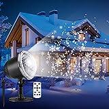 outlife Lampe de Neige Projecteur de Noël LED Extérieur Flocon de Neige Lumière Ambiante Intérieur Décoration Toussaint avec Télécommande Étanche pour Maison Mur Jardin Pelouse Hiver