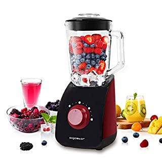 Aigostar Pomegranate 30KYF - 750W Multi-Function Table Jug Blender with 2-Speed, 1.5L Glass Jar, 4-Blade Stainless Steel, Black & Red, BPA Free.