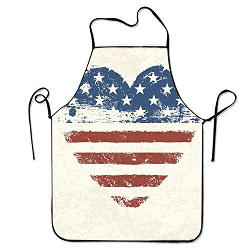 Fs2A1X Adjustable Durable Bib Apron Heart Shaped American Flag for Server Stitched Edges Heart Shaped Server