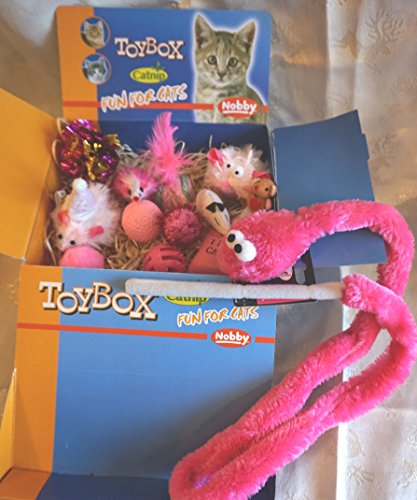 LUXURY CAT CHRISTMAS GIFT BOX IN FELINE FEMININE PINKS 13 CATNIP CAT TOYS