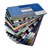 Design Badematte | Rutschfester Badvorleger | viele Größen | zum Set kombinierbar | Öko-Tex 100 Zertifiziert | viele Muster zur Auswahl | Quadrate - Blau (95 cm rund)