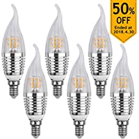 LEDMO Lampadine LED E14,lampadina led e14 7W Equivalenti a 60 W,Bianca Calda (2700K)Lampadine a LED 630 Lumens LED Lights 6 pessi