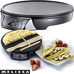Melissa 16310146 Crepes Maker Profi für Crepes, Burrito und Wraps 1000 Watt inklusive Ziehspartel und Holzstick, Pfannkuchen Maker antihaftbeschichtet