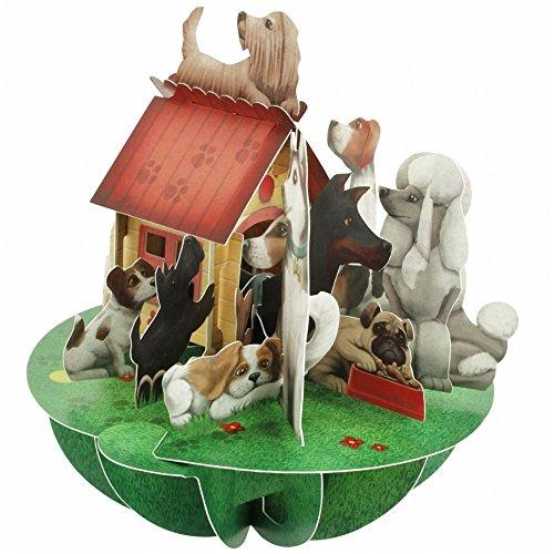 Santoro 3D Pirouette Grußkarte–Hunde & Hundehütte