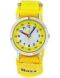 BOXX Mädchen und Jungen Armbanduhr analog mit gelb-weißem Ziffernblatt und gelben Klettverschlussarmband