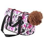 Pet Handbag Dog Canvas Carrier Bag Foldable Washable Travel Carrying Shoulder Bag for Small Medium Pets (S, White) 8