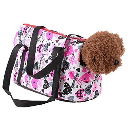 Pet Handbag Dog Canvas Carrier Bag Foldable Washable Travel Carrying Shoulder Bag for Small Medium Pets (S, White) 2