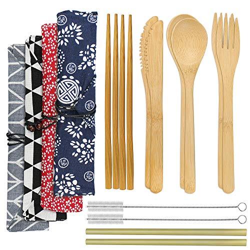 SelfTek 2 Set Bambusbesteckset wiederverwendbar Bambusbesteck Reisegeschirr Messer Gabel Löffel Stroh Essstäbchen und Pinsel mit 4 Beuteln in 2 Ausführungen