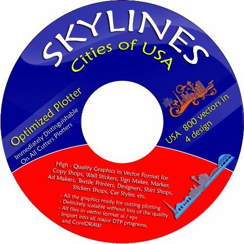 Hauptstadt Vier (Vektoren CD / DVD 4 - ca. 280 Skylines Städte USA in 4 Design ca. 1100 Vektoren für Wandtattoos, Aufkleber, Textildruck)